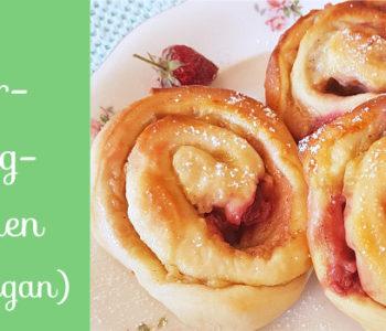 Vegane Erdbeer-Puddingschnecken